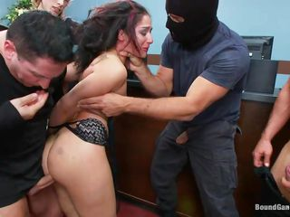 Sheena Ryder is a sexy brunette with nice small love melons and firm round ass. And these guys-Toni, john, Owen and Ramon can't help the wildness hiding inside them. They came in masks and attacked her for having a hardcore pleasure. So, four cocks get blowjob and anal with her, and the infirm whore had them all!