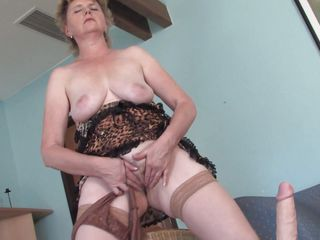 lewd grandma masturbating up a big vibrator
