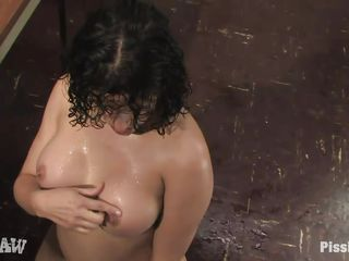 naughty dark brown with smoking hot body gets piss and ball cream