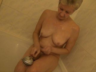 grandma masturbates in the shower