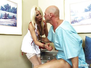 Horny blonde doctor with str8 hair and huge breasts gives her patient a blow job. Her moist soft lips engulf his knob with passion, this babe deepthroats, this babe gags, everything to do her patient fine. How will this treatment end? Will that guy be fine just after this, or will that guy need more of this medicine?