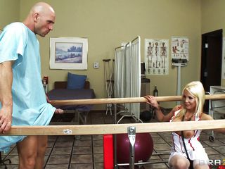 Lascivious blonde doctor with str8 hair and huge love bubbles gives her patient a blow job. Her moist soft lips engulf his cock with passion, that babe deepthroats, that babe gags, everything to do her patient fine. How will this treatment end? Will this guy be fine just after this, or will this guy need more of this medicine?