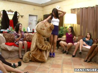 Bear was dancing but the hawt sweethearts around made him so hawt that it jumped out of its skin and started receiving individual attention from the sweethearts surrounding him. Therefore, it was no surprise to watch his pole is stiff and standing away from his body defying gravity as sweethearts continue teasing it