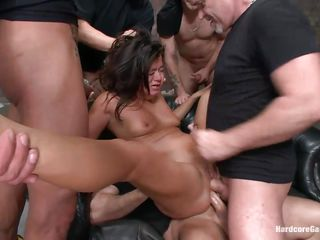 concupiscent brunette hair milf getting team-fucked