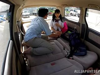petite schoolgirl cowed in the car