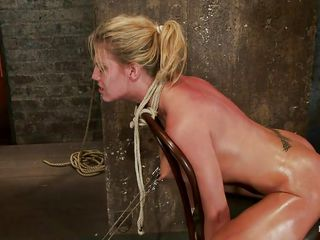 In order to make her stay with her head up, this guy inserted a big metal hook in her anus and tied it with a rope at her hair, now this babe stays the way he wants to and her position is flawless for a good deep throat. She's all tied up on that chair and if this babe wants to move her head the hook will enter deeper in her anus, hurting her so this babe would better let the guy fuck her throat without opposing.