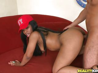 round a-hole ebony lady gets drilled right wean away from behind