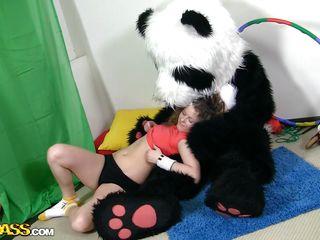 flexible slut getting panda's hard load of shit