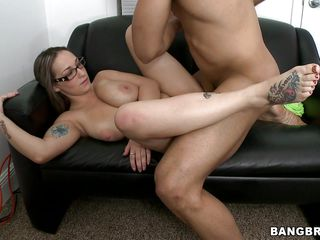 Jasmin is one cute girl with giant zeppelins and these sexy glasses. This thick honey gets fucked hard on the couch, both missionary and from behind. Watch these zeppelins shake as she gets pounded by that rock-hard cock before taking a thick, sticky cumshot on her face. She gets overspread in goo and loves it!