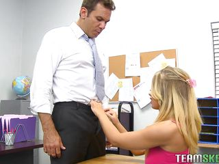 blonde student being very wicked with her teacher