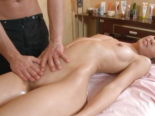 brunette slut having giving blowjob and getting drilled at massage.