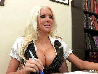 Blonde playgirl with is beginning to take off her clothes while having her huge jugs sucked and licked. She's being put on her desk while continuing to have her titties played with by the man. Will they do it on the desk?