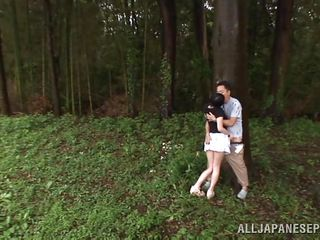 That babe is hot and goes wild in the forest. Check out this girl named Tsubomi, a youthful asian floozy that likes to suck a hard dick, no matter if that babe does it in the comfort of her abode or in the centre of a forest! That babe kneels like a good Japanese wench and gives oral-sex with obedience while preparing for a hard fuck