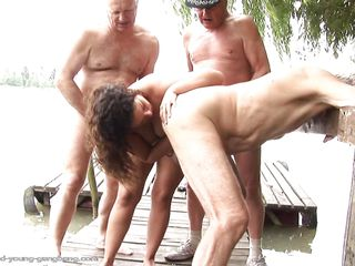 gabrielle being fucked by three old guys