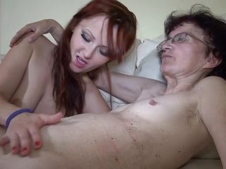 horny redhead chick and her loved granny
