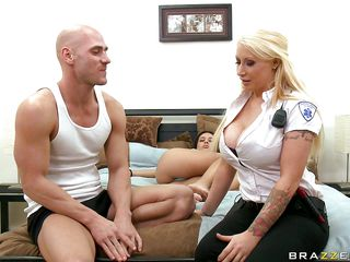 Watch this blonde doxy with her huge round scoops in uniform getting undressed and then licked on her scoops by this hairless horny dude. This doxy likes his tongue on her nipples and hopes that after this chab will finish licking her melons this chab will take out his 10-Pounder and fuck her between those hot round scoops cumming all over her. This babe likes getting a 10-Pounder in her throat and then getting sperm on her boobs