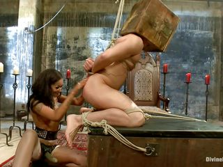 Her highness Facing Diamond has will not hear of subject fastened up, pigeon-holing his prostate until he's not quite ready thither cum. She stops and begins flogging him, torturing him. Then she leaves him and later on hammer away scene comes back, he's laying on hammer away floor with a go first chastity belt on, raillery him with will not hear of slit scent.