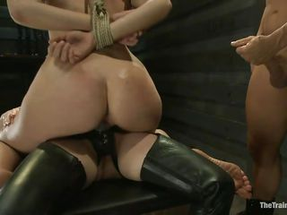 Chastity Lynn is a obedient girl desirous to fulfill her black sexual desires. Aiden Starr and her friend Derrick Pierce are there to give her what she needs. The older hot babe with a strapon goes on and copulates her bald pussy, whilst the white guy bashes her mouth roughly. They have a great time together.