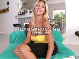 hot blonde plays with her heavy gut