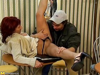 This redhead wench with a nice body has a perfect day 'cuz this babe is horny and willing to be fucked hard by this male. This chab licks her tits and after that he offers an memorable muff diving to this aged bitch. This chab begins to fuck deep the wet vagina of the wench while this babe sits on the table.