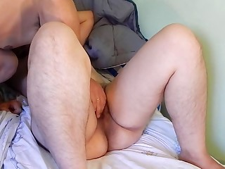 Hairy MILF giving her lover a rimjob