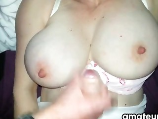 Jerking Off Onto Her Marvelous Chest POV