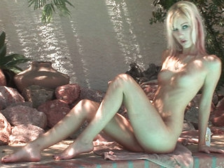 Blonde sensation Kristina shows her nubile charm as she plays with an assortment of oversized sex toys including the illustrious clit-twirling Rabbit. Caught up in passionate masturbation, Kristina moans with delight.