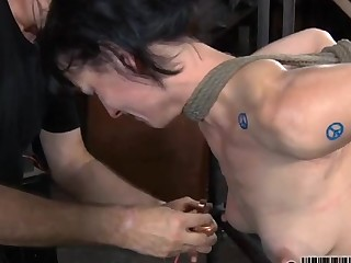 Bound around serf acquires suggestive adulatory her nasty twat