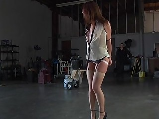 Gagged sweetheart gets her racks bounded added to clamped