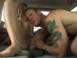 Why jog when you can hop in the van and fuck your way to good health? Peyton hitched a ride with us and after small talk and convincing that nobody could see in she let loose and got one hell of a workout riding reverse cowgirl while the truckers cheered