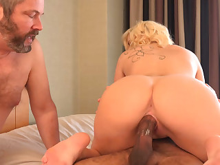Golden-Haired Wife Gets Creampie coupled with Spouse Eats Crimson Copse