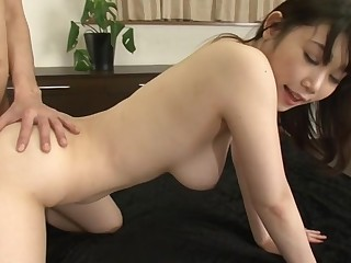 Large boobs Japanese darling shows off her ultra morose butt