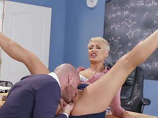 Miss Ryan is the sluttiest teacher in school and loves big cock
