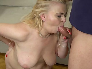 Chubby grandma makes his youngster dick cum in her mouth
