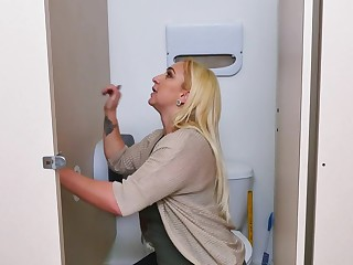Nina Kay sucks retire from gloryhole cock and swallows the cum