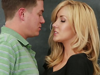 Hot classroom hardcore with a small bosom blonde temptress