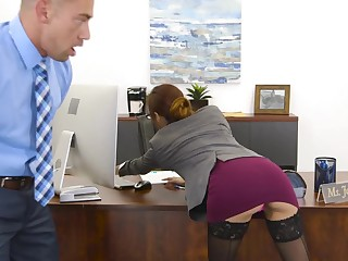 A babe all round sexy erect nipples is getting fucked in the office