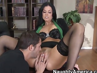 Rough fuck of chic milf India Summer in fancy black stockings and Bowie knife Slater