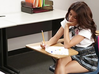 Cute schoolgirl fucking the brush instructor