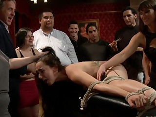 19 excellence old Enclosing Natural Slut Gets fucked in Bondage at an bonny party