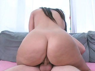 Dame with a big ass and small tits loves getting groped while humping