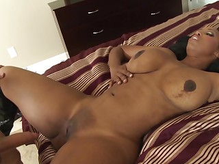 Ghetto booty black chick Codi Bryant fucked at the end of one's tether a big white cock