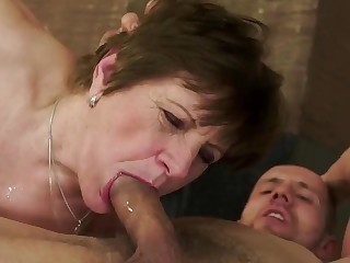 Awesome fuck of along to granny Piros in along to ass