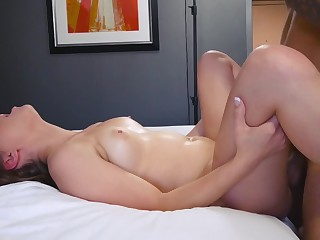 During casting, pretty pubescent enjoys cockriding