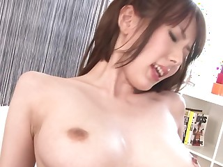 Brunette Japanese darling upon a nice black herb needs hard going to bed