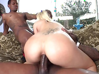 Ashen chick loses a bet in the air an increment of has to fuck two guys in the air large dicks