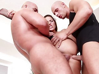 Two big guts are sticking their dicks into a hot busty nanny