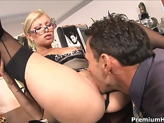 Chief honcho bangs long-legged blond secretary Donna Bell