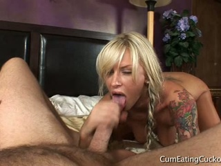 Blonde slut deep-throats dick with husband