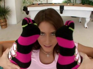 Stunning Madison Ivy flexes her feet relating to to her head